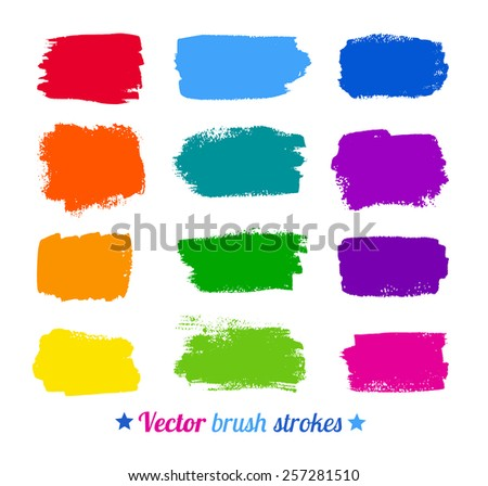 Grunge colorful watercolor brush strokes. Vector set. - stock vector