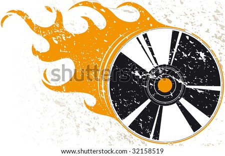 Grunge compact disc with flames - stock vector