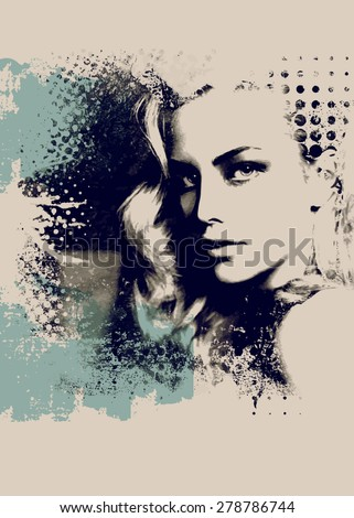 Grunge composition  with a pretty  girl and painted blots - stock vector