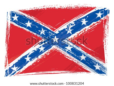 Grunge Confederate flag - stock vector