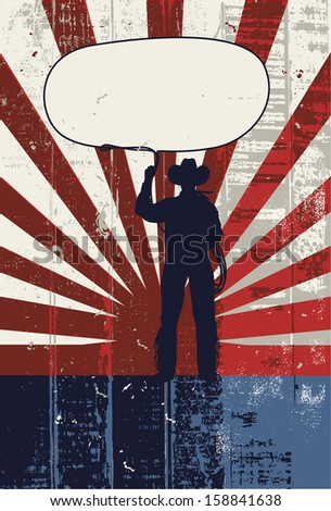 Grunge cowboy roping poster, vector - stock vector