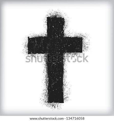 grunge cross - stock vector