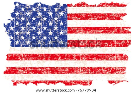 Grunge damaged American flag - stock vector