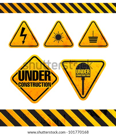Grunge danger signs collection isolated on white - stock vector