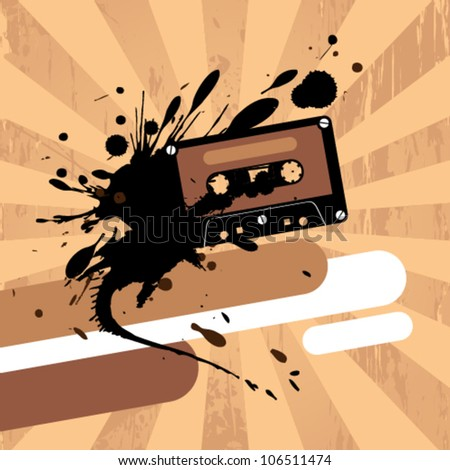 Grunge design template with cassette tape and place for text. - stock vector