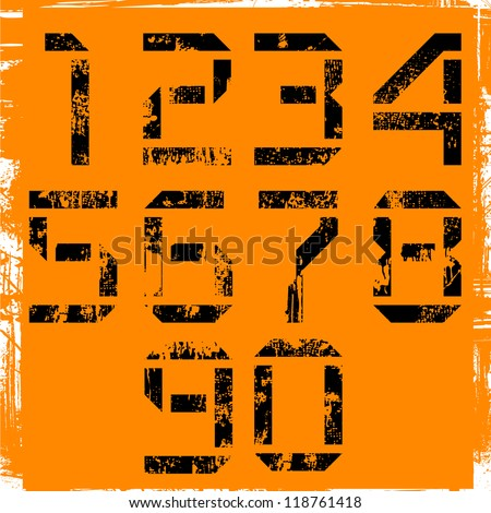 grunge display numbers on orange