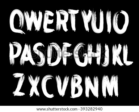 Grunge Distress Ink Splash Letters . Vector Destroy Style Hand Drawn Alphabet Font  - stock vector