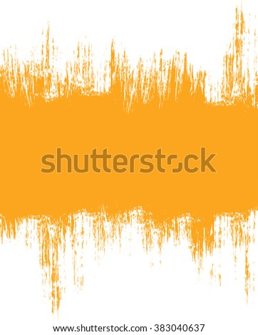 Grunge distressed white paintbrush banner strokes on orange background