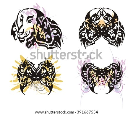 Grunge dog head and butterfly from it. Tribal dog portrait and butterfly wings splashes formed of her ear - stock vector