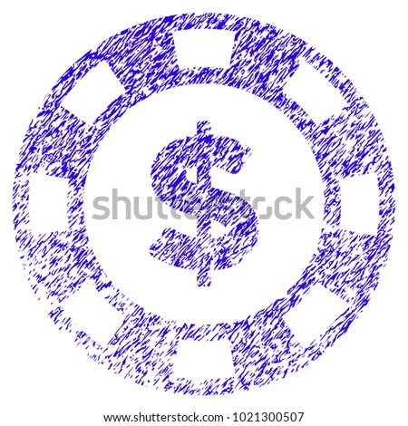 Grunge Dollar Casino Chip rubber seal stamp watermark. Icon symbol with grunge design and unclean texture. Unclean vector blue sign.