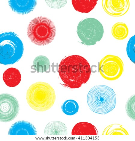 Grunge Dotted Seamless Pattern. Kids Background. Vector