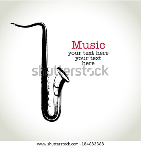 Grunge drawing saxophone with brushwork - stock vector