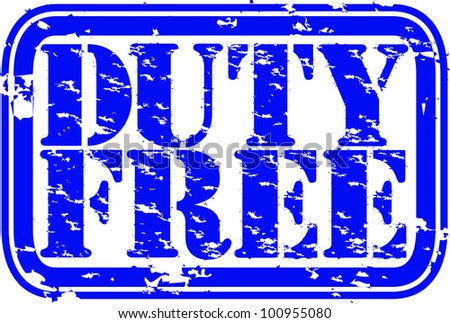 Grunge duty free rubber stamp, vector illustration - stock vector