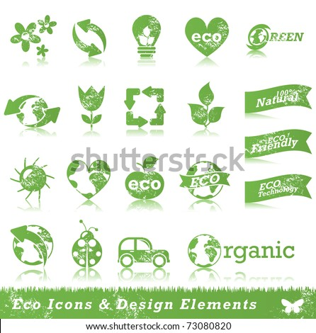 Grunge ecology icon set - stock vector