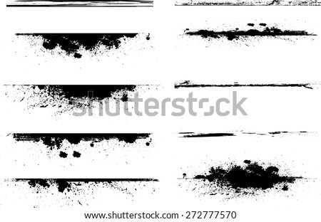 Grunge Edges Vector Set . Design Elements . Grunge Borders , Dividers or Brush Strokes . - stock vector
