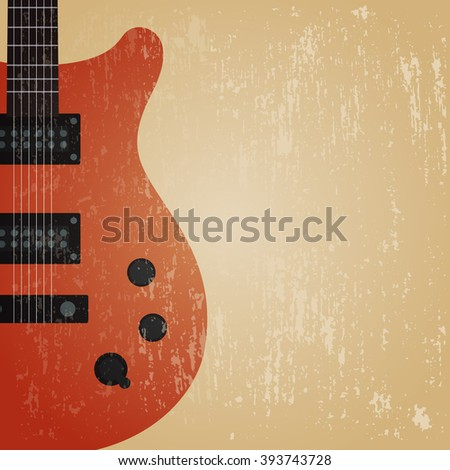 grunge electric guitar guitar , retro background - stock vector