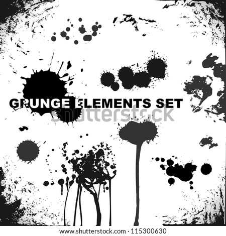 grunge elements, blots and splashes - stock vector