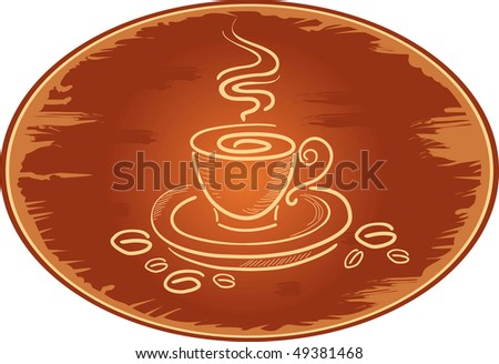 Grunge ellipse background with art coffee cup, vector illustration