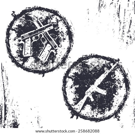 grunge emblems, t-shirt design with crossed pistols and assault rifle, vector illustration, eps10, easy to edit - stock vector