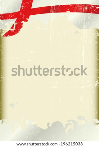 Grunge england flag. A poster with a large scratched frame and a grunge english flag for your publicity. - stock vector