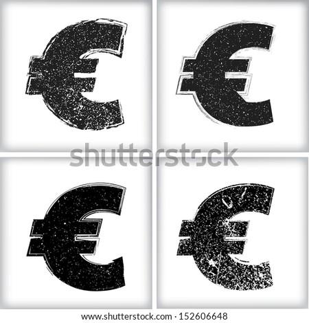 Grunge Euro sign - stock vector