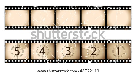 Grunge film strip and countdown - stock vector