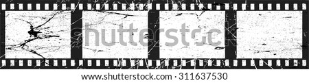 Grunge Filmstrip Border Frame . Photo Album with Frames with Overlay Film Grain Distressed Texture . Vintage Frame . Vector . - stock vector