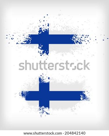 Grunge finnish ink splattered flag vectors - stock vector