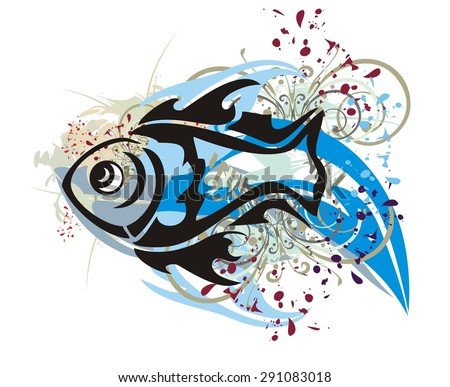 Grunge fish splashes with floral elements and blood drops - stock vector