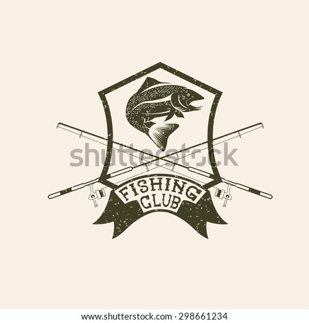 grunge fishing club crest with trout - stock vector