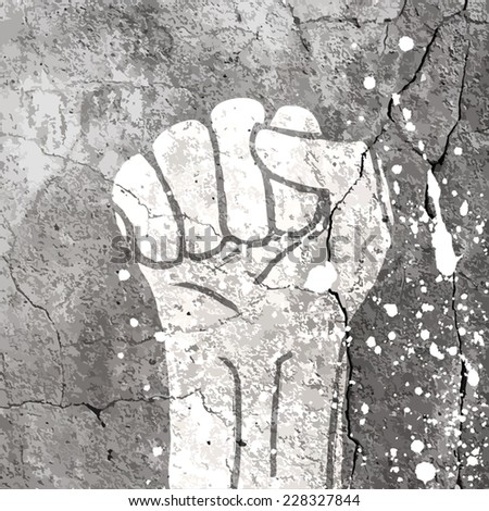 Grunge fist illustration on concrete texture with white splashes. Vector - stock vector
