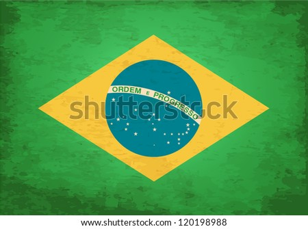 Grunge Flag of Brasil - stock vector