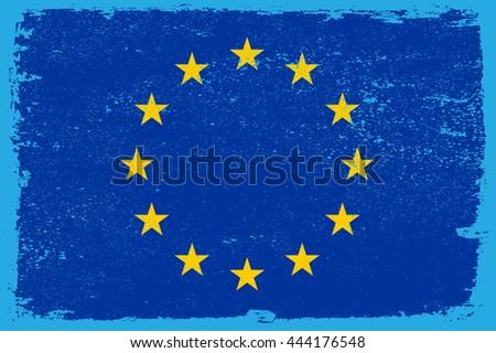 Grunge flag of European Union.Vector flag of EU. - stock vector