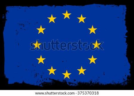 Grunge flag of European Union.Vector illustration. - stock vector
