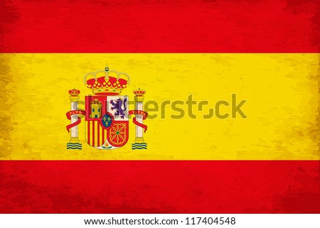 Grunge Flag of Spain with Emblem - stock vector