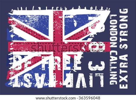 Grunge flag of the United Kingdom mixed with typography for your design - stock vector