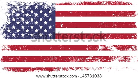 grunge flag of USA - stock vector