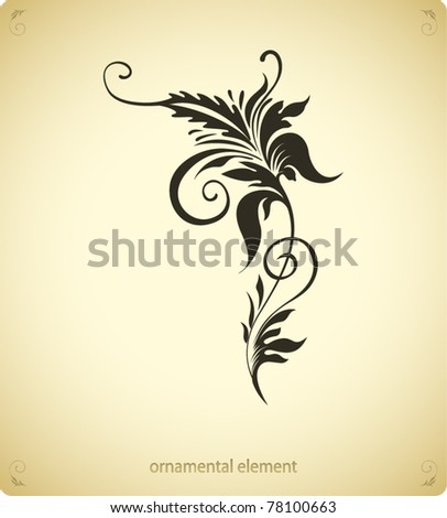 grunge flower, ornamental design - stock vector