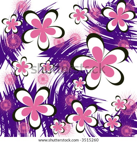 grunge flowers pattern - vector - - stock vector
