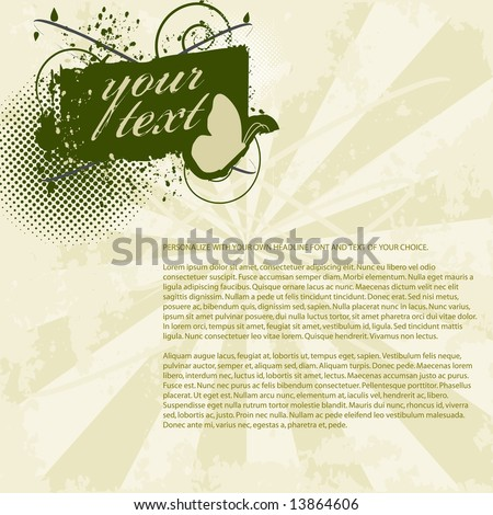 Grunge flyer / background with space to add your own copy. Includes banner/shield, butterflies, vector halftones, and inksplats on a sunburst background. (Grunge PageLayout 9) - stock vector