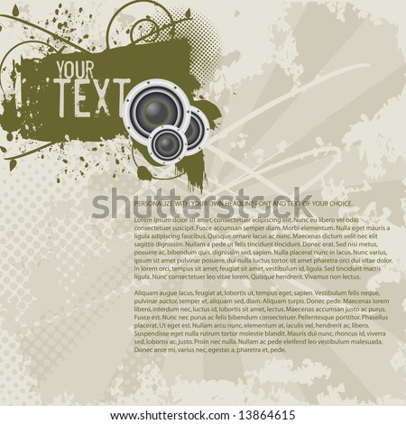 Grunge flyer / background with space to add your own copy. Includes banner/shield, speakers, vector halftones, and inksplats on a sunburst background. (Grunge PageLayout 12) - stock vector