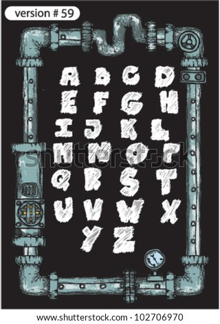 grunge font. steampunk art. - stock vector