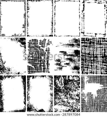 Grunge frame - background vector set - stock vector