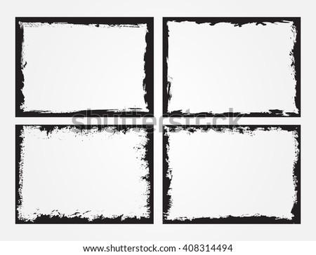 Grunge Frame Set.Grunge Backgrounds.Vector Distress Frames. - stock vector