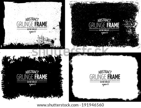 Grunge frame set. vector template texture - stock vector