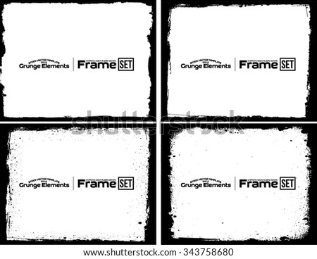 Grunge frame texture set - Abstract design template. Isolated stock vector set - easy to use - stock vector