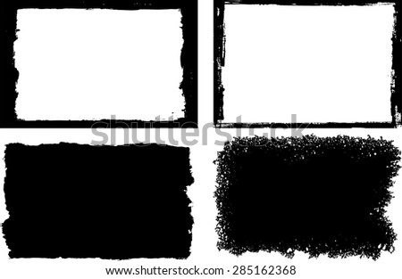 Grunge frame texture set - Abstract design template. Stock vector set - easy to use