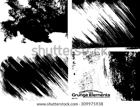 Grunge frame texture set - Abstract design template. Stock vector set - easy to use - stock vector