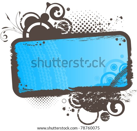 Grunge frame with blue background and the circles with swirls - stock vector
