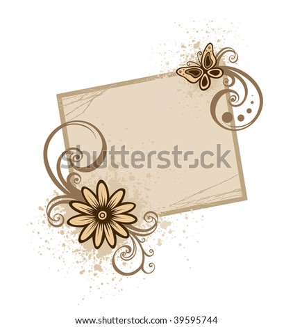 Grunge frame with flowers